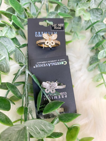 Small Cubic Zirconia Butterfly Ring