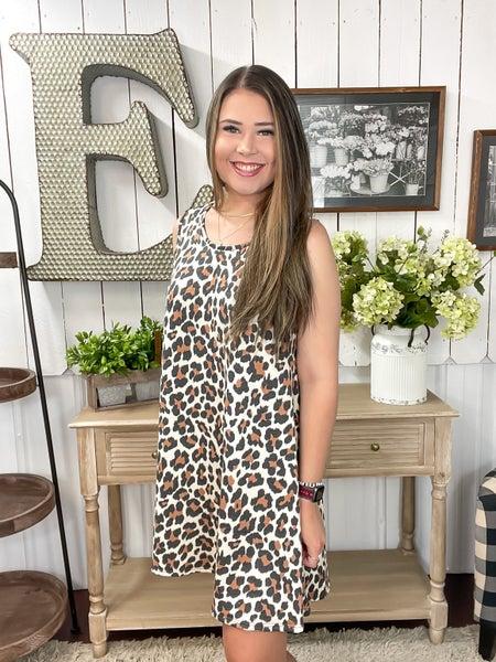 Oatmeal Animal Print Keyhole Dress