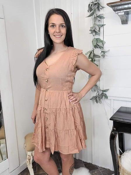 Dusty Peach Swiss Dot Button Down Dress (ONLINE ONLY)*