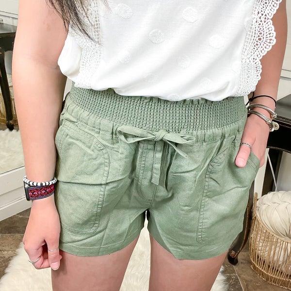 Light Olive Smocked Waist Linen Shorts
