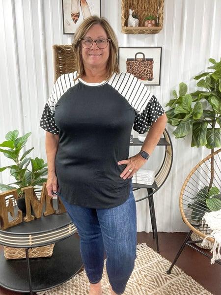 Black & White Stripes & Polka Dot Top