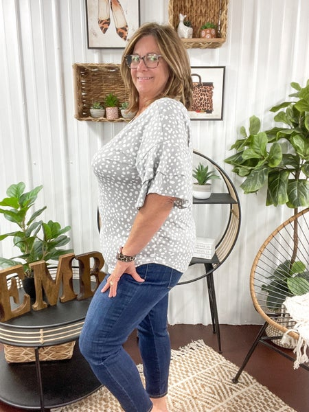 Spotted Grey Ruffle Sleeve Top