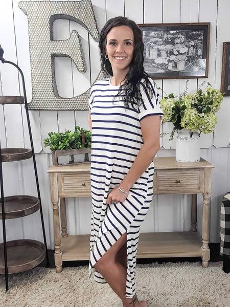 Navy Stripes Split Side Midi Dress