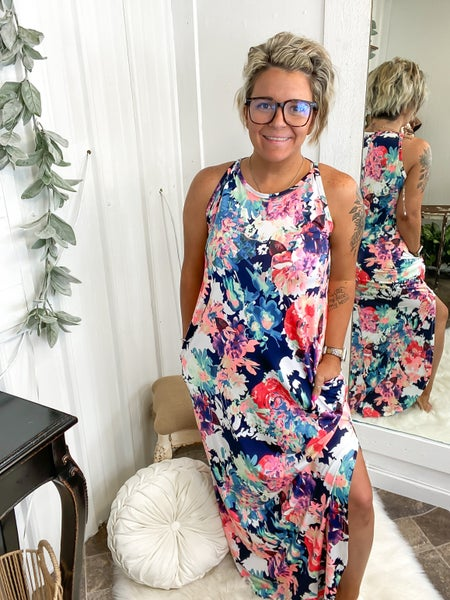 Navy Floral Split Maxi Dress (ONLINE ONLY)*