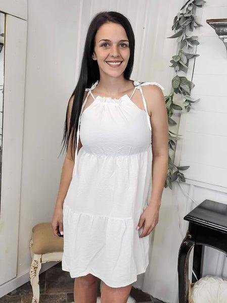 White Tie Shoulder Tiered Dress (ONLINE ONLY)*