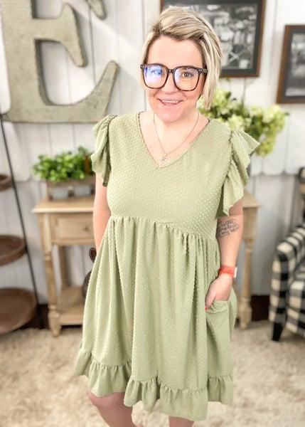 Olive Swiss Dot Ruffle Dress