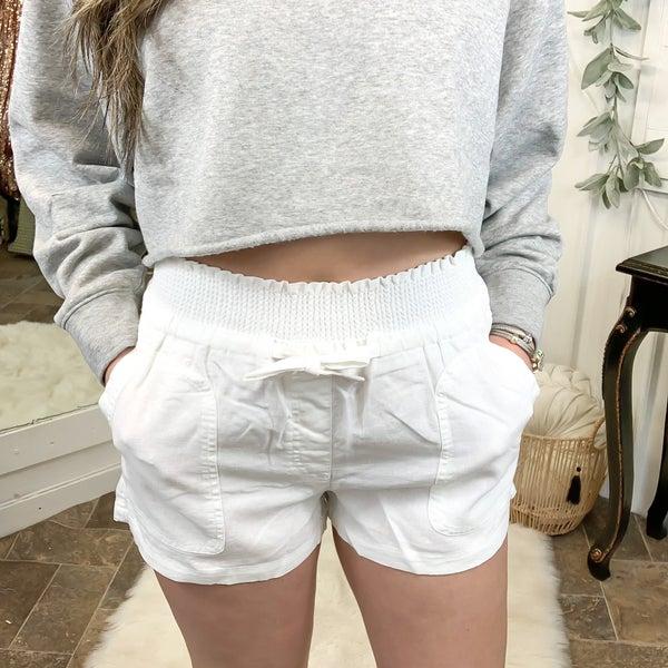 White Smocked Waist Linen Shorts (ONLINE ONLY)*
