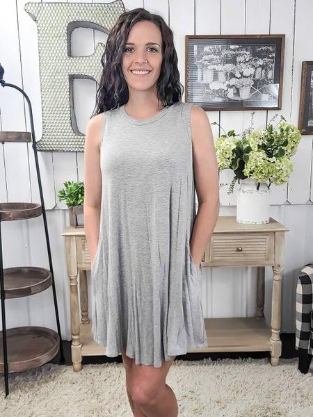Heather Grey Crew Neck Swing Dress