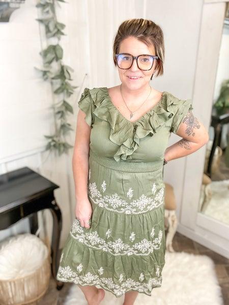 Olive Embroidered Ruffle Midi Dress
