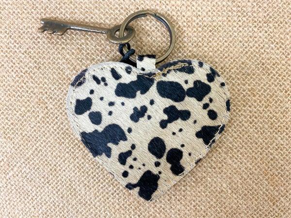 Myra Dalmatian Print Heart Shaped Keychain