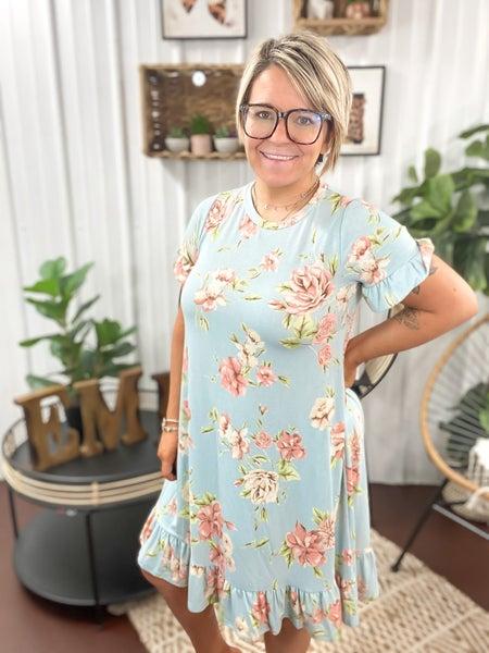 Light Blue Floral Ruffle Sleeve Dress