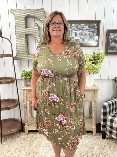 Olive Floral Baby Doll Dress