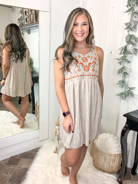 Taupe Baby Doll Embroidered Dress