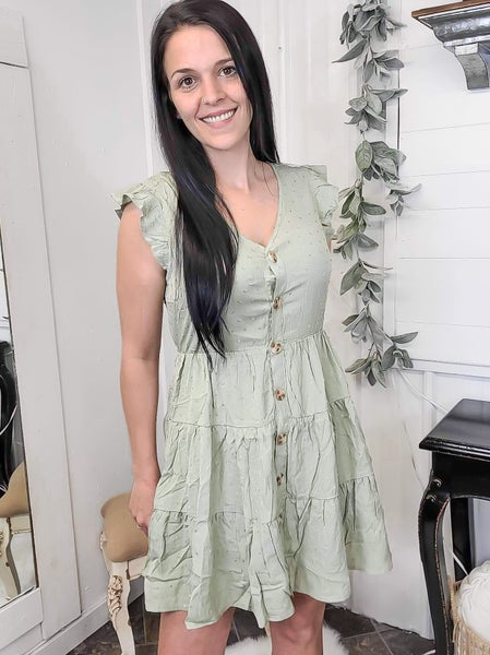 Olive Swiss Dot Button Down Dress (ONLINE ONLY)*