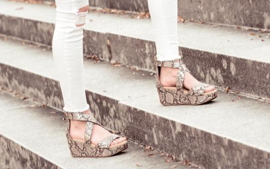 Corkys Fay Wedge Taupe Snake