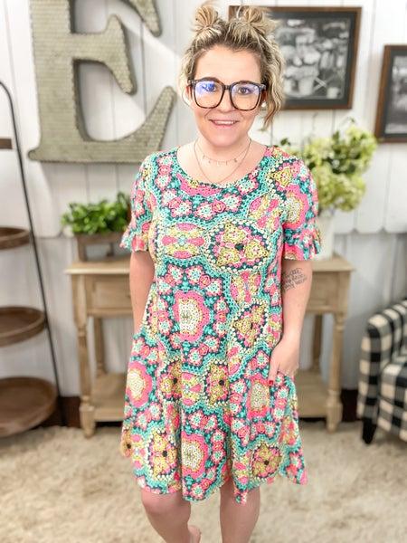 Sage & Pink Kaleidoscope Dress