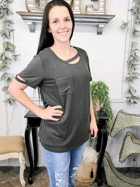 Charcoal Cutout Top (ONLINE ONLY)*