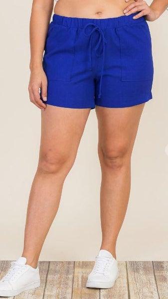 Royal Blue Linen Patch Pocket Shorts