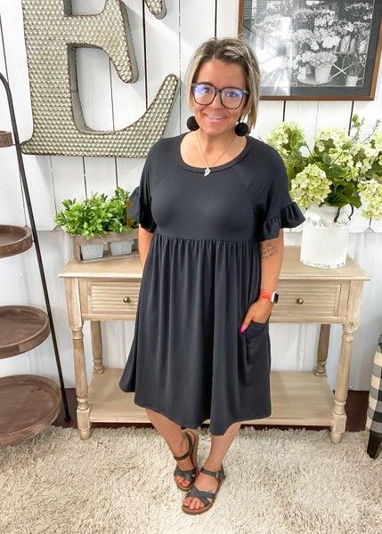 Black Baby Doll Ruffle Sleeve Dress