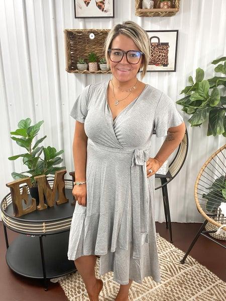 Heather Grey Wrap Dress