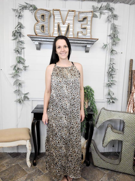 Tan Leopard Halter Maxi Dress *ONLINE ONLY*