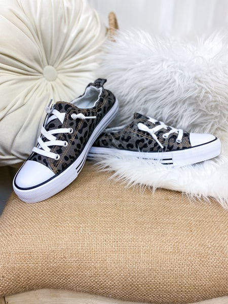 Pewter Leopard Canvas Sneaker
