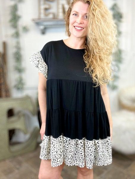Black & Leopard Ruffle Tiered Dress