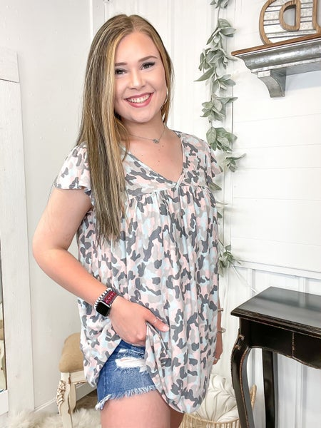 Pink & Blue Camo Baby Doll Top