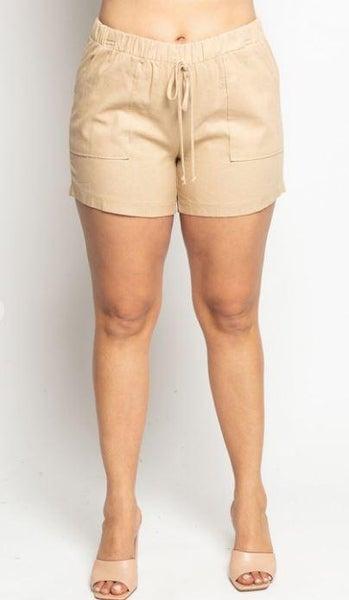 Khaki Linen Patch Pocket Shorts
