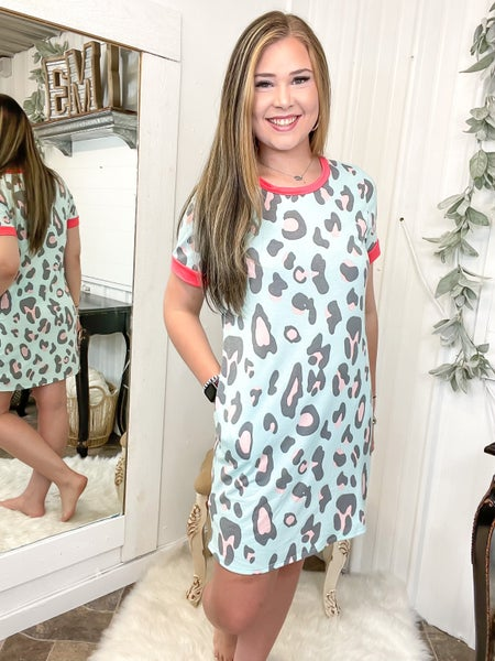Mint Leopard & Coral Dress