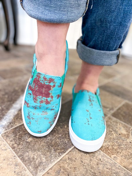 Gaby Rusted Turquoise Canvas Sneaker