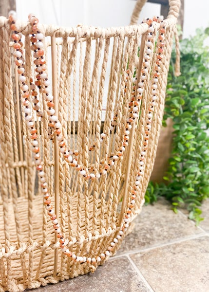 Pearl & Copper Crystal Skinny Bead Necklace