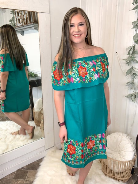 Emerald Off The Shoulder Embroidered Dress