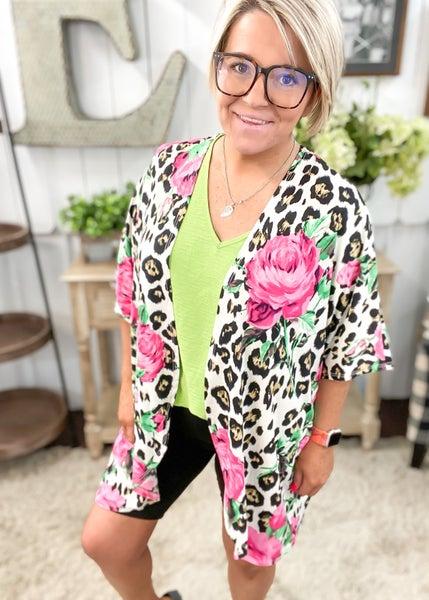 Pink Floral & Animal Print Kimono