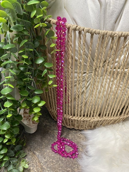 Iridescent Pink Crystal Bead Necklace