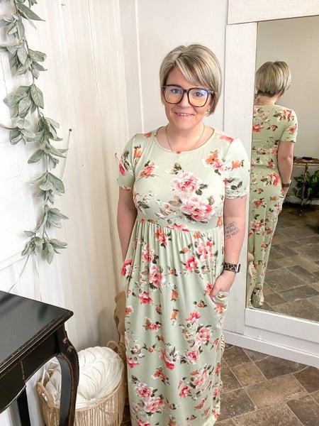 Sage Floral Print Maxi Dress