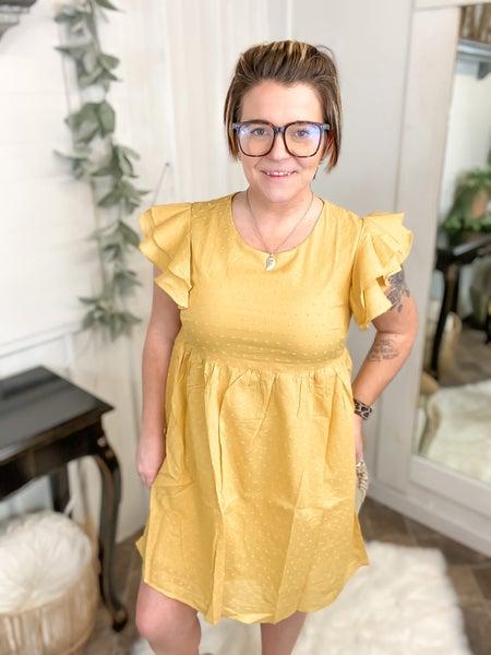 Marigold Baby Doll Ruffle Sleeve Dress