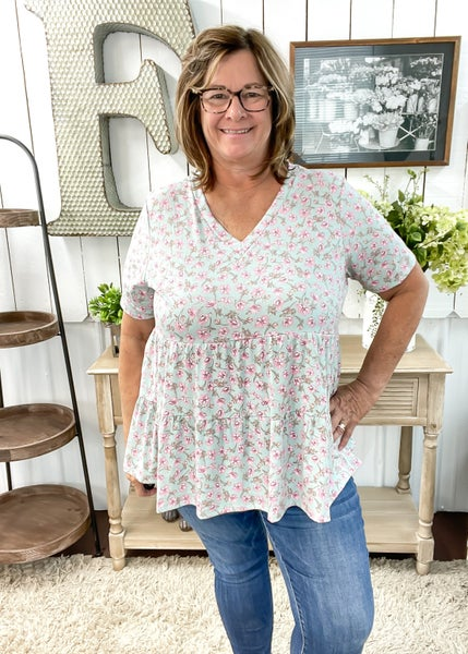 Mint & Blush Floral Baby Doll Top ALL SALES FINAL