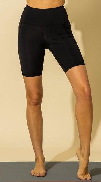 Black High Waist Side Pocket Shorts*