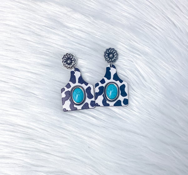 Wooden Cow Tag & Turquoise Stone Earrings
