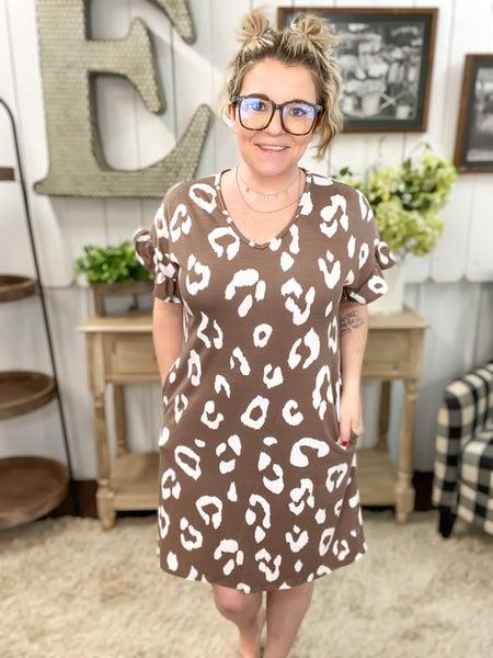 Mocha Leopard Ruffle Sleeve Dress
