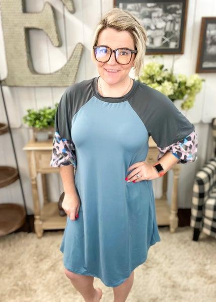 Denim Blue & Lavender Animal Print Dress