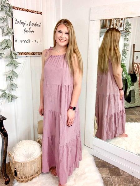 Dusty Pink Tie Shoulder Maxi Dress *ONLINE ONLY*