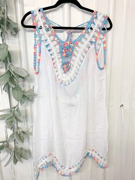 White Crochet Trim Coverup