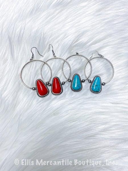 Hoop & Stone Earrings