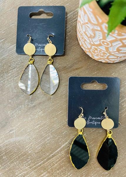 Leaf Drop Stone Earrings