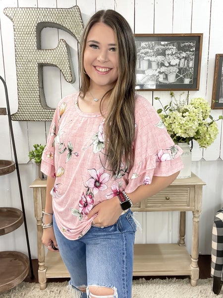 Pink Floral Ruffle Bell Sleeve Top  - ALL SALES FINAL -