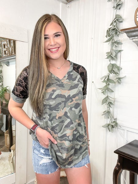 Camo & Lace Sleeve Top