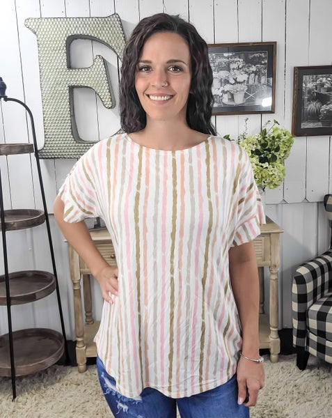 Olive & Blush Striped Slit Sleeve Top