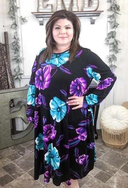 Turquoise & Purple Lotus Dress